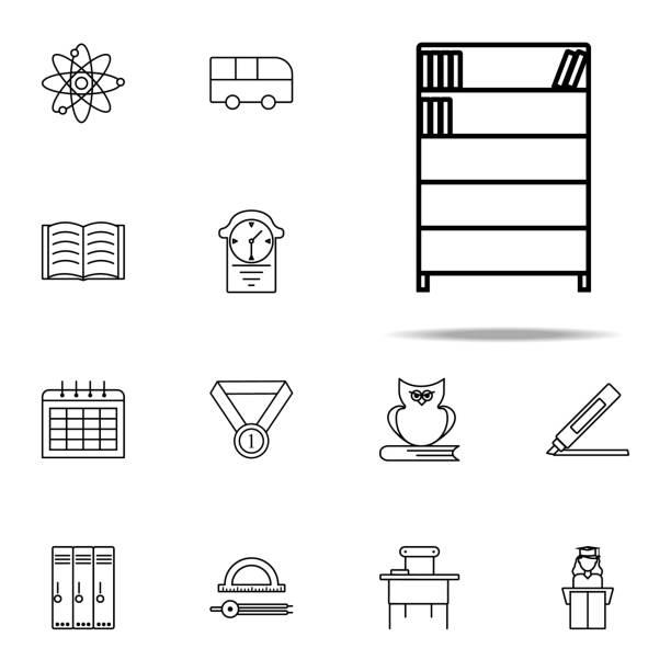 bücherregal-symbol. bildung symbole universal set für web und mobile - stapelbett stock-grafiken, -clipart, -cartoons und -symbole