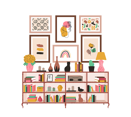 Bookcase with books and houseplants and picture scandinavian style