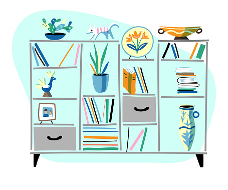 Bookcase with drawers hand drawn flat illustration