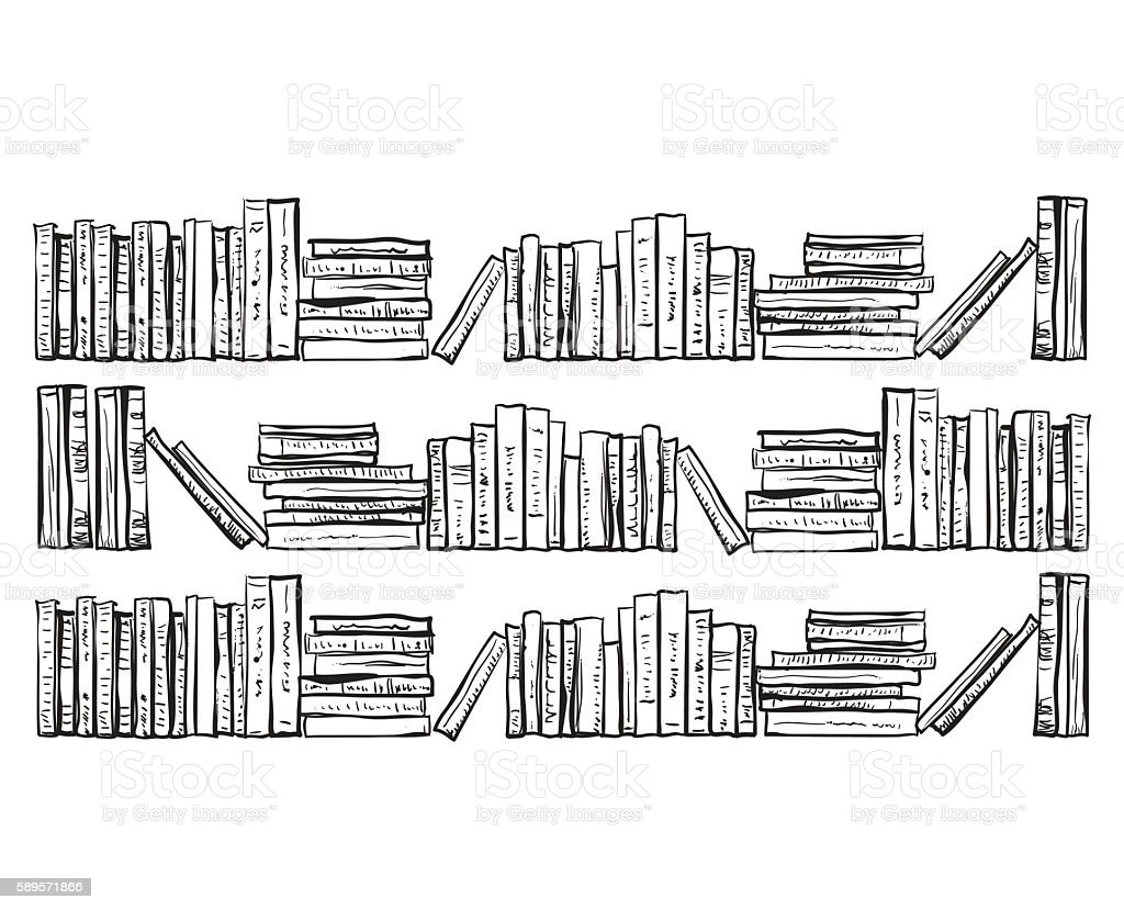 Bookcase with lots of books - Illustration vectorielle
