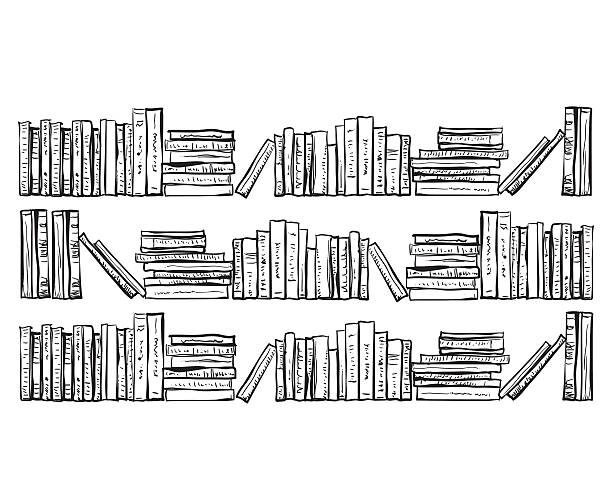 Bookcase with lots of books vector art illustration