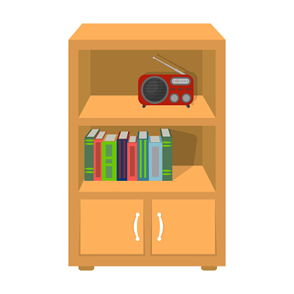 A bookcase with shelves and a radio receiver. Furniture and interior single icon in cartoon style Isometric vector symbol stock illustration web.