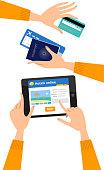 Booking a hotel online hands set