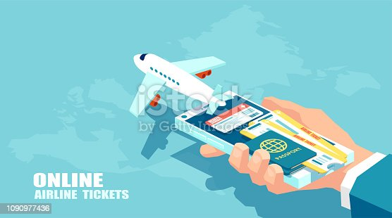 Booking airline tickets and traveler insurance online concept. Vector of travel, business flights worldwide. Boarding pass