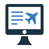 Booking flight, air ticket icon - Well organized and editable Vector design using in commercial purposes, print media, web or any type of design projects.