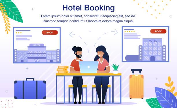 ilustrações de stock, clip art, desenhos animados e ícones de booking hotel room online flat vector banner - bills couple