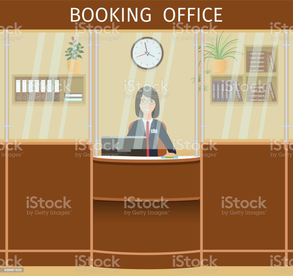 女性従業員のカウンターで予約オ...