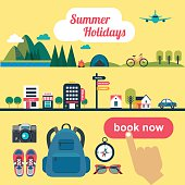 booking online concept for summer vacation