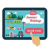 booking online concept for summer vacation with flat icons