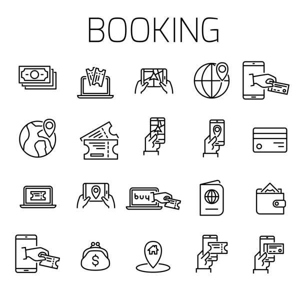 Booking related vector icon set. Booking related vector icon set. Well-crafted sign in thin line style with editable stroke. Vector symbols isolated on a white background. Simple pictograms. wildlife reserve stock illustrations