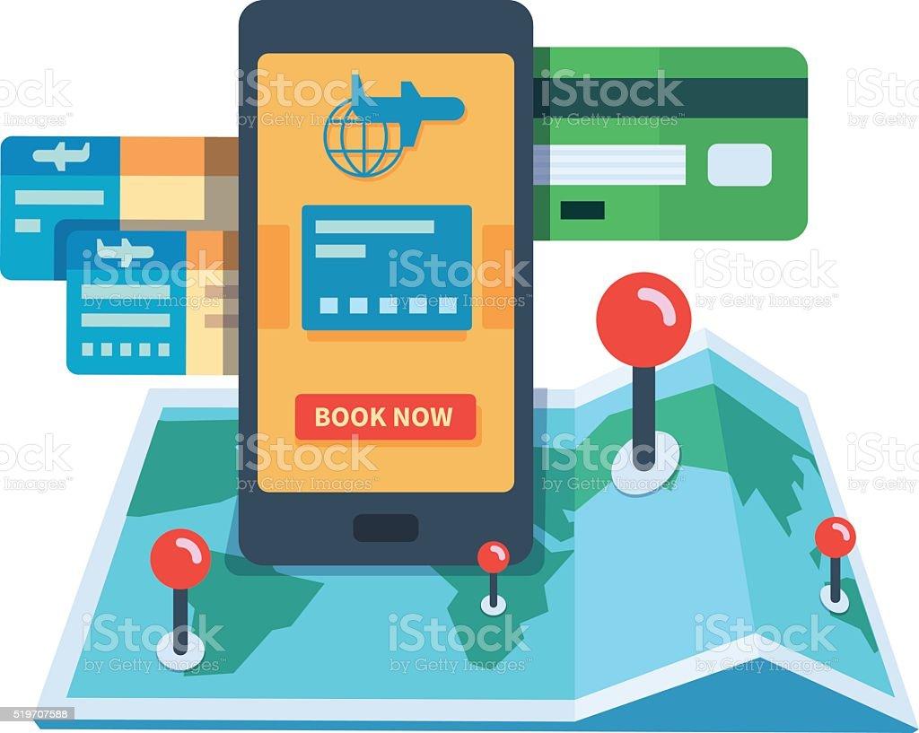 Booking travel online concept vector art illustration