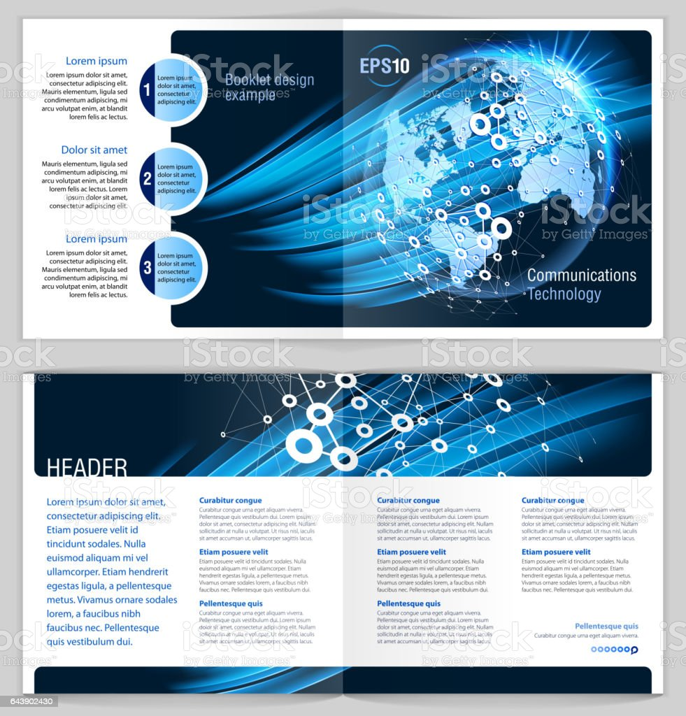 booklet design example global communications stock vector art more