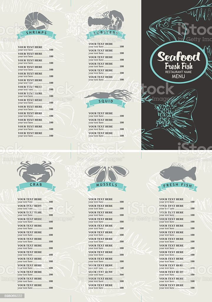 booklet menu with price list for seafood えびのベクターアート素材