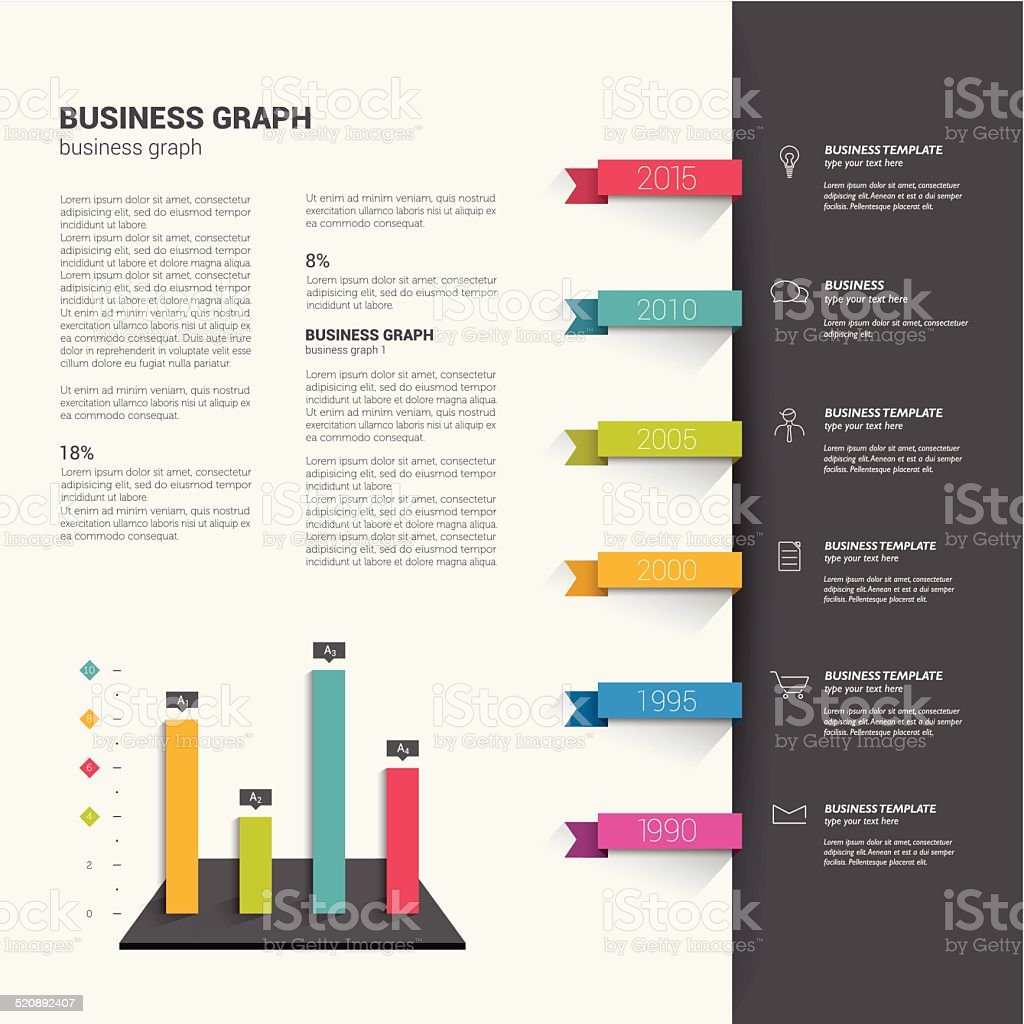 Booklet page. Magazine layout for infographics. vector art illustration