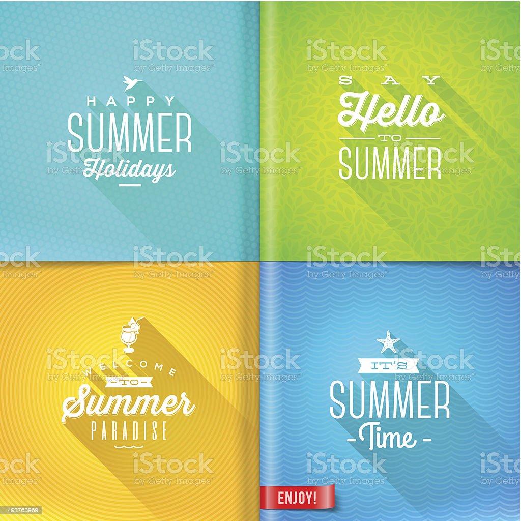 Booklet template - set of summer greeting sign vector art illustration