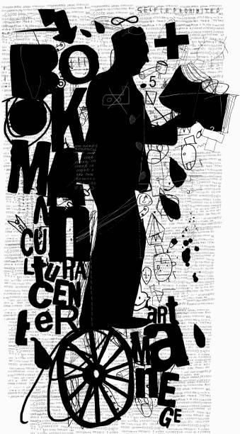 Bookman vector art illustration