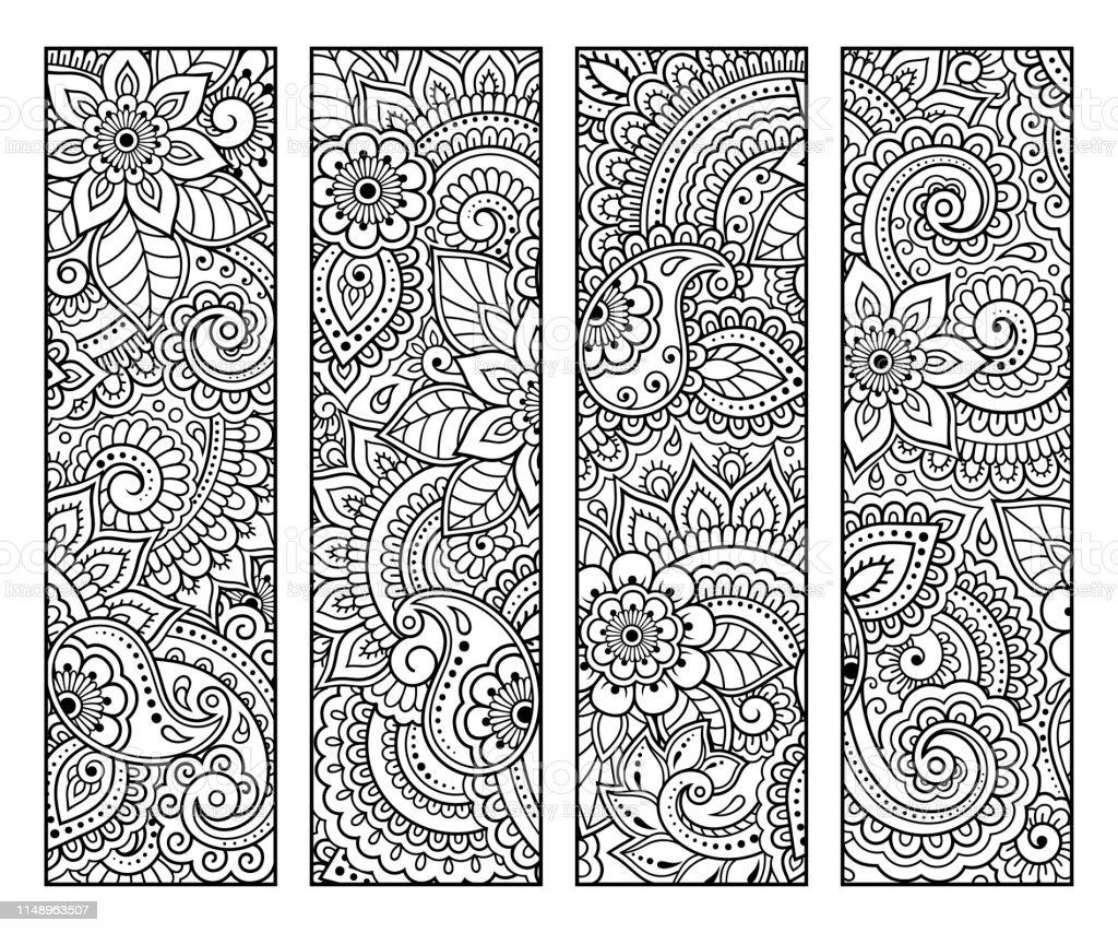 Kitapboyama Icin Yer Imi Cicek Doodle Desenleri Ile Siyah Ve Beyaz