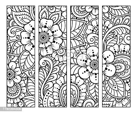 istock Bookmark for book - coloring. Set of black and white labels with floral doodle patterns, hand draw in mehndi style. Sketch of ornaments for creativity of children and adults with colored pencils. 1192394306