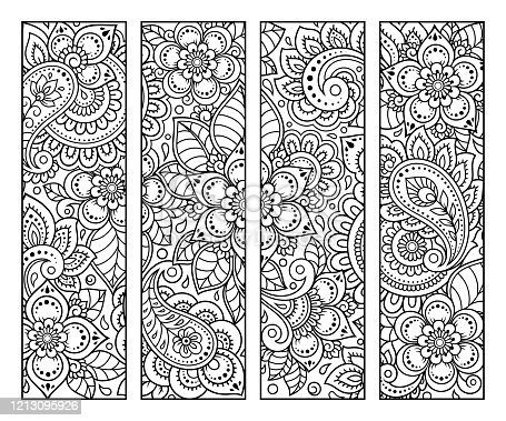 istock Bookmark for book - coloring. Set of black and white labels with floral doodle patterns, hand draw in mehndi style. Sketch of ornaments for creativity of children and adults with colored pencils. 1213095926