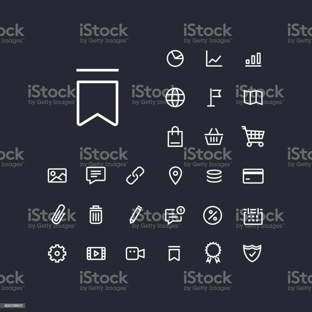Bookmark icon in set on the black background. vector art illustration