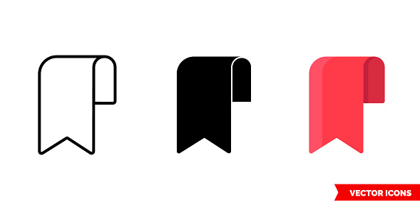 Bookmark icon of 3 types color, black and white, outline. Isolated vector sign symbol.