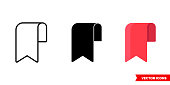 istock Bookmark icon of 3 types. Isolated vector sign symbol 1250721151