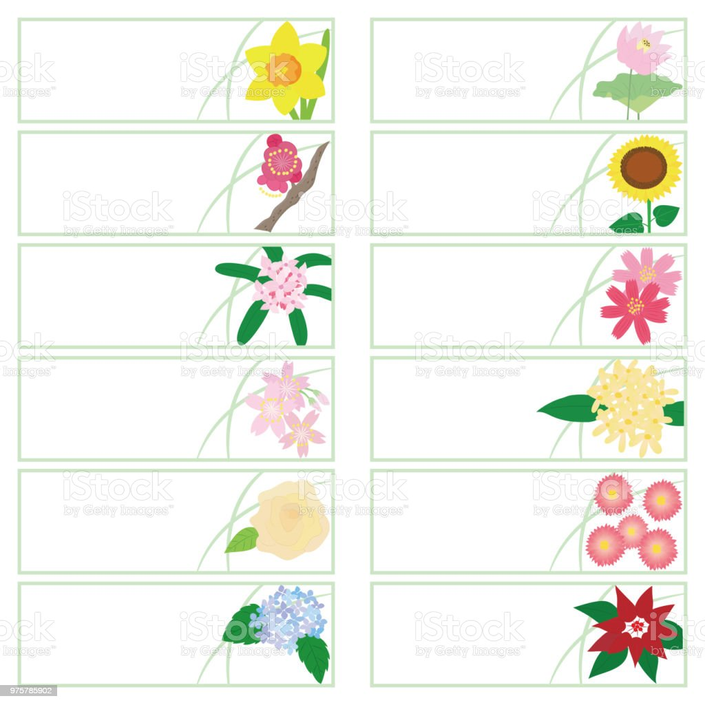 Bookmark of 12 kinds of flowers stock vector art more images of bookmark of 12 kinds of flowers royalty free bookmark of 12 kinds of flowers stock izmirmasajfo