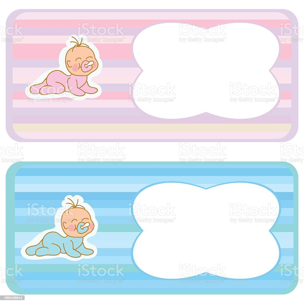 Bookmark Template Set With Newborn Baby Toddlers Royalty Free