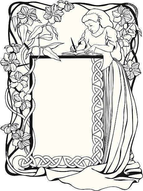 Bookplate with Flowering Clematis vector art illustration