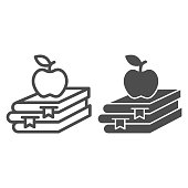 istock Books and apple line and solid icon, Education concept, School book and apple sign on white background, stack of books with fruit on top icon in outline style for mobile, web design. Vector graphics. 1253573287