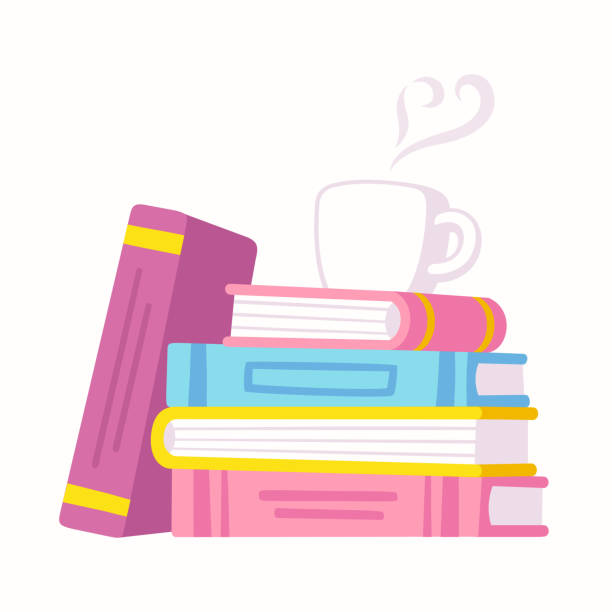 Books and coffee Stack of books and cup of coffee. Love reading vector illustration for book cafe or library. book club stock illustrations