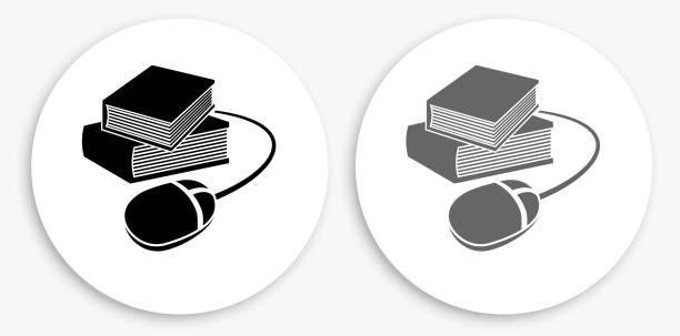Bücher und Computer Maus schwarz und weiß Runde Symbol – Vektorgrafik