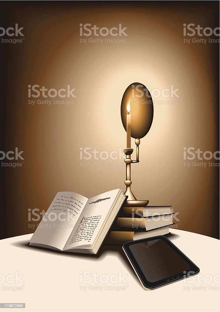 Books and e book with candle vector art illustration