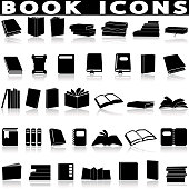 Books and education icons set on a white background with a shadow