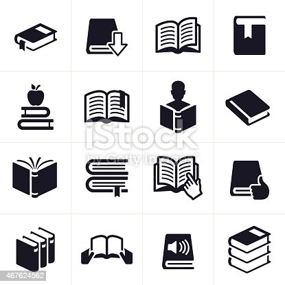 Book, reading and education icon and symbol set.There are 16 icons total. There are 3D open books, books with bookmarks, closed books, reference books and books representing social media, audibooks and people reading. EPS 10 file.