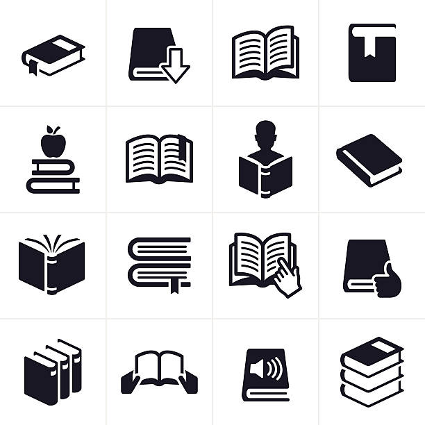 Books and Education Learning Icons and Symbols Book, reading and education icon and symbol set.There are 16 icons total. There are 3D open books, books with bookmarks, closed books, reference books and books representing social media, audibooks and people reading. EPS 10 file. book icons stock illustrations