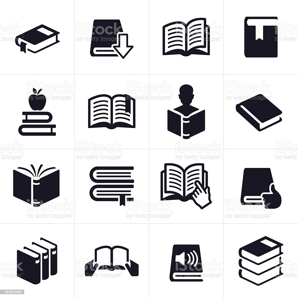Books and Education Learning Icons and Symbols vector art illustration