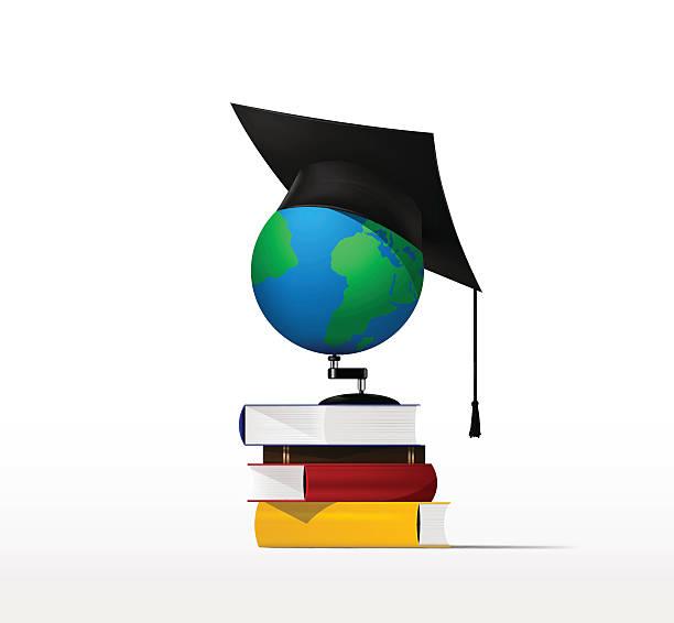 bücher und globus vektor - reiseliteratur stock-grafiken, -clipart, -cartoons und -symbole