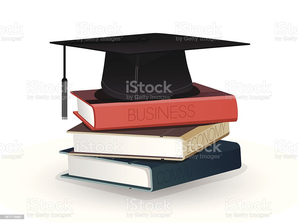 Books and graduation cap vector art illustration