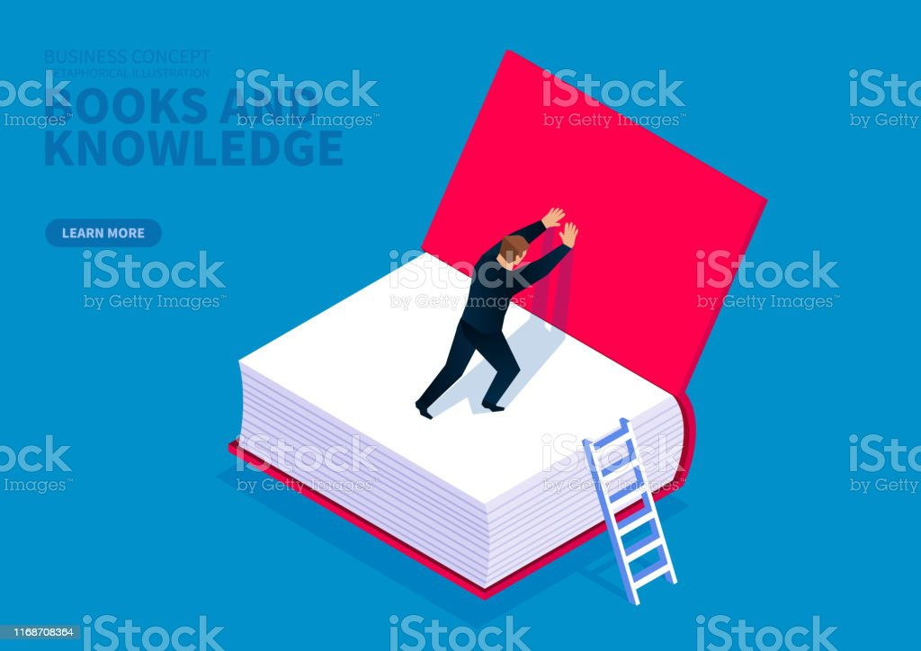 Books and knowledge, the businessman opened the cover of the book