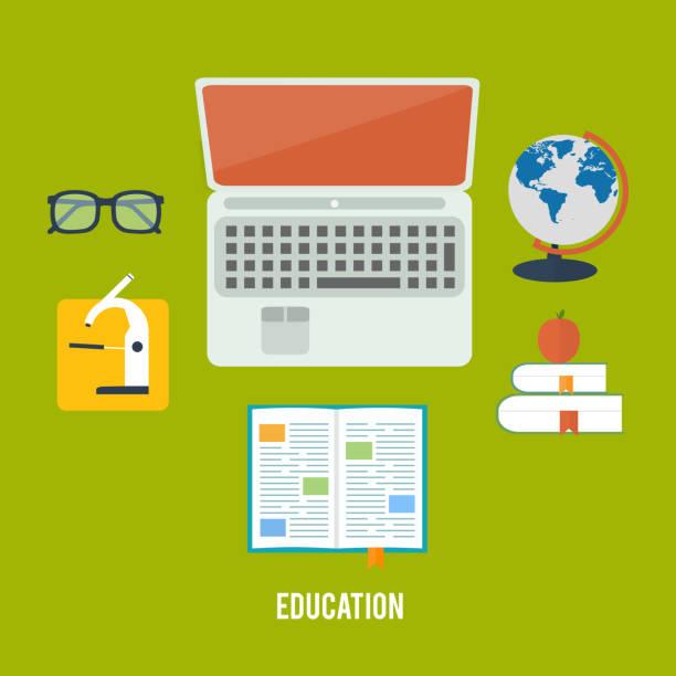 książek i laptopa - back to school stock illustrations
