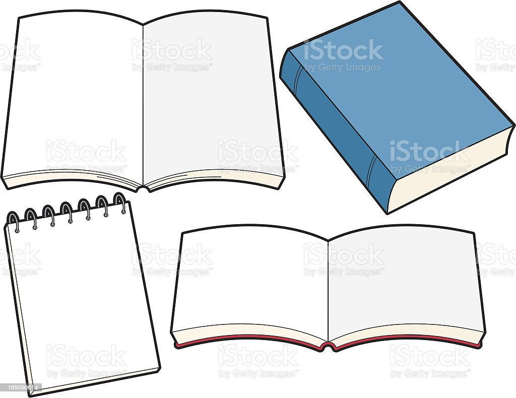 Books and Notebook vector art illustration