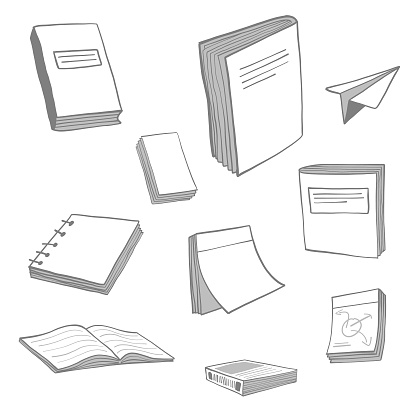 Books and notepads sketch collection