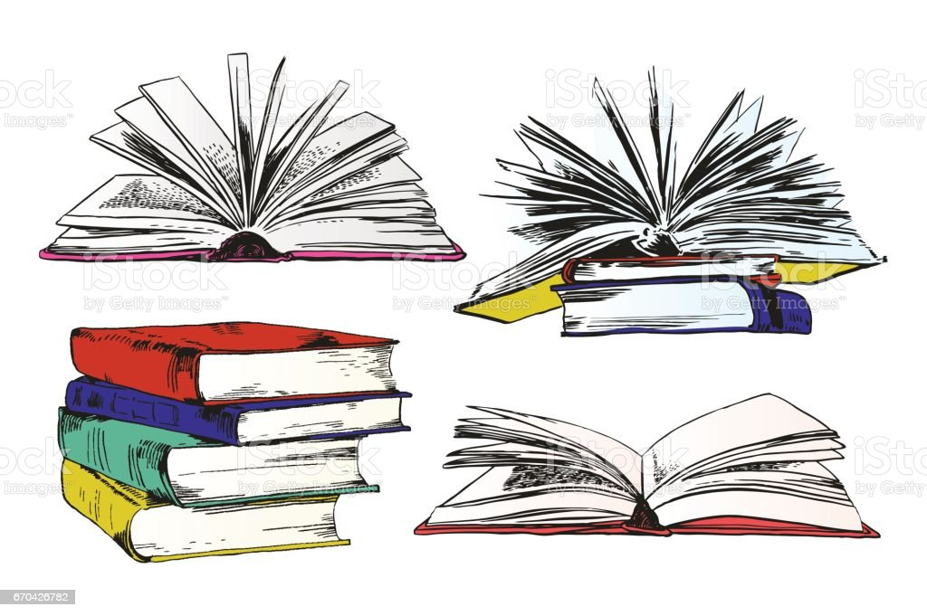 Books And Pics Albums vector art illustration