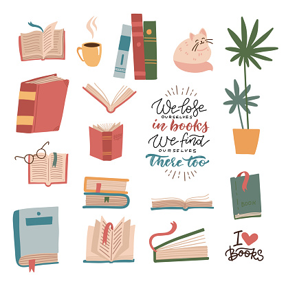 Books and reading elements set. Stack of books, textbooks, cute cat, houseplant, cup. Bundle of decorative design with lettering quotes isolated on white background. Flat cartoon vector illustration.