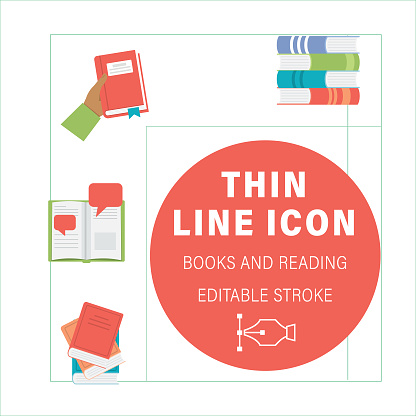 Books And Reading Line Icons
