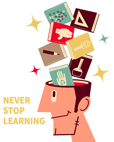 Books are flying into (or flying out of) a man's open head; Never stop learning; To invest in yourself