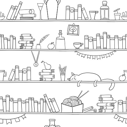 Books, cat and other things on the shelves. Seamless pattern
