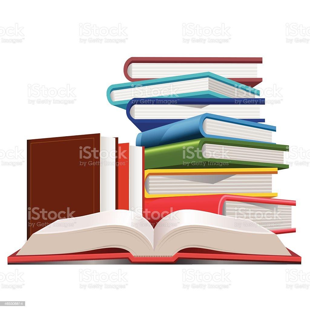 Books collection vector art illustration