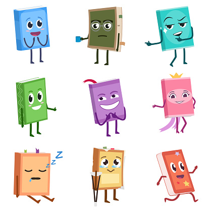 Books cute characters set. School books with different traits and emotions. Funny cartoon character.